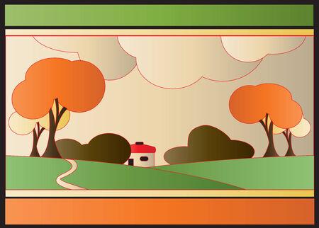 Art Deco Autumn Background Vector