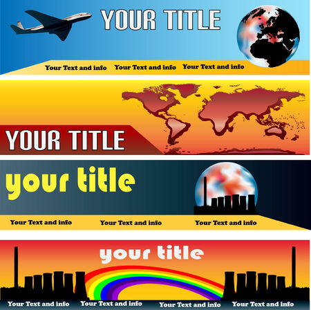 Global Warming Web Banner Templates Vector