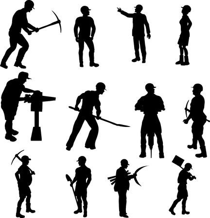 bauarbeiterhelm: Bau Worker Silhouetten