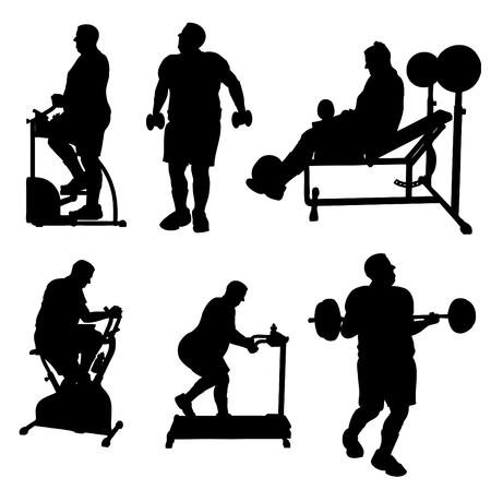 gym equipment: Grande Uomo Esercizio Silhouettes