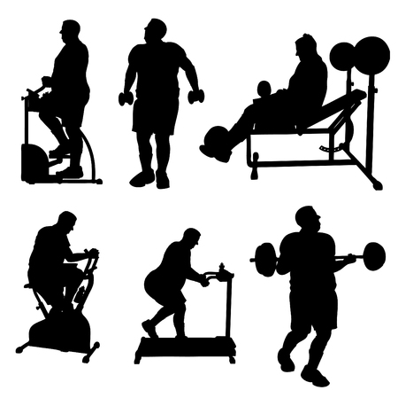 Large Man Exercise Silhouettes Vector