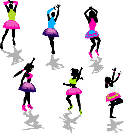 Neon Party Girl Silhouettes Vector