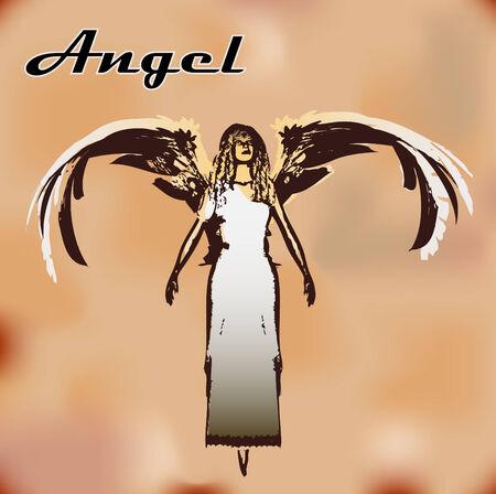 christian women: Vintage Angel Background Illustration