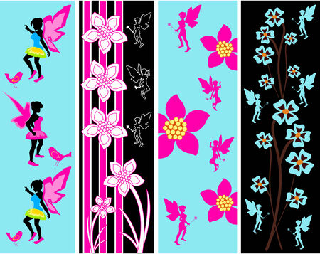 Fairy Floral Web Banner Templates Vector