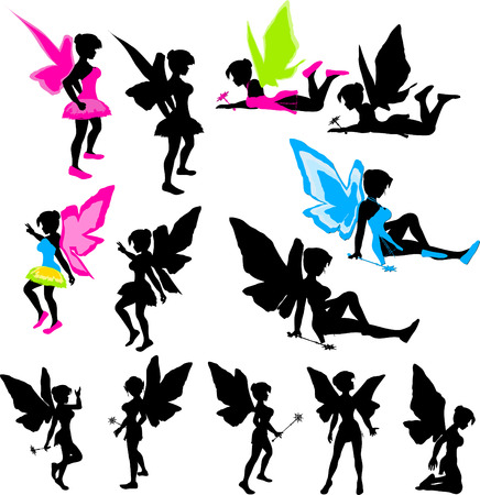 Neon Fairy Silhouettes Illustration