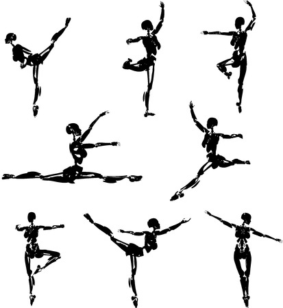 pointe: Android Ballet Pose Silhouettes Illustration