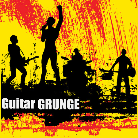 flier: Guitar Group Grunge Background