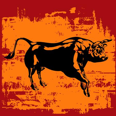 Grunge Bull Background Stock Vector - 5023314