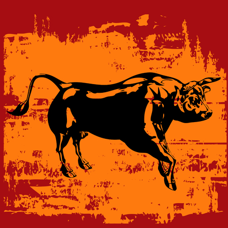 charging bull: Grunge Bull Background