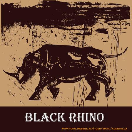 rhinoceros: Black Rhino Background Illustration