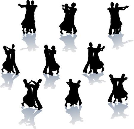 waltz: Ballroom Dance Silhouettes Illustration