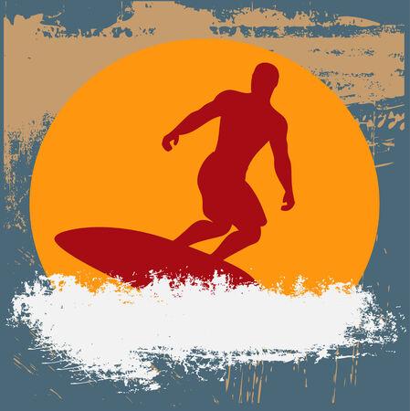 Grunge Surfer Background Illustration