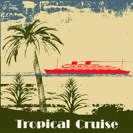 romantic travel: Tropical Cruise Background Illustration