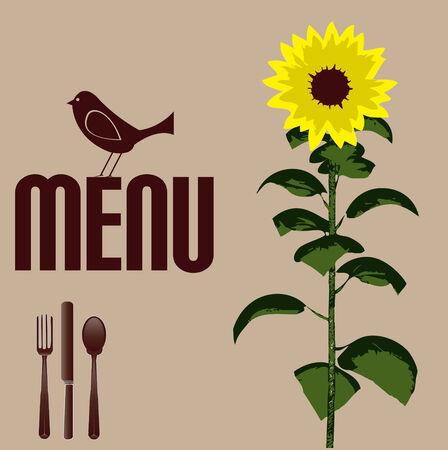 Sunflower Menu Template Stock Vector - 5145769