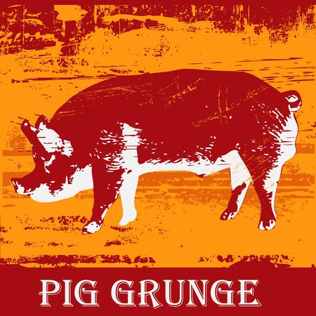 Pig Grunge Illustration
