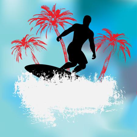 surfer vector: Tropical Surfer Background Illustration