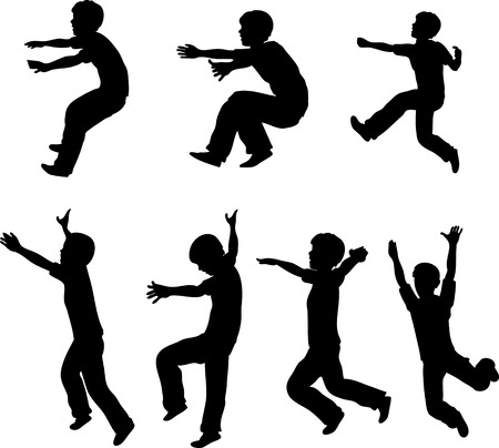 Jumping Boy Silhouettes Stock Vector - 5179177