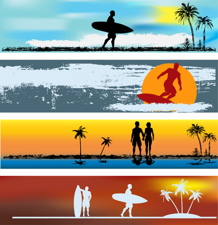 surfing beach: Tropical Beach Web Banner Templates
