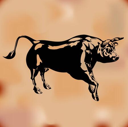 Black Bull Background Stock Vector - 5305425