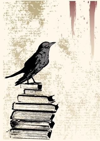 Świat Raven tła Grunge Ilustracje wektorowe