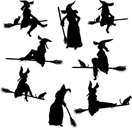 bruja: Siluetas de brujas Vectores