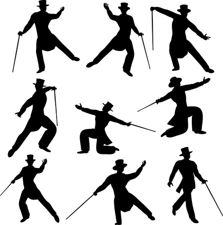 debonair: Debonair Dancer Silhouettes Illustration