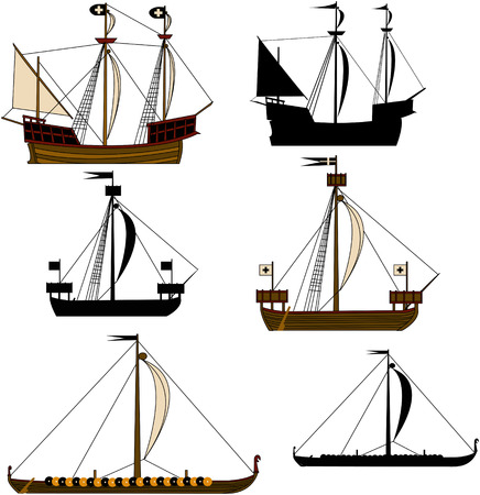 Medieval Sailing Ships Stock Vector - 5472390