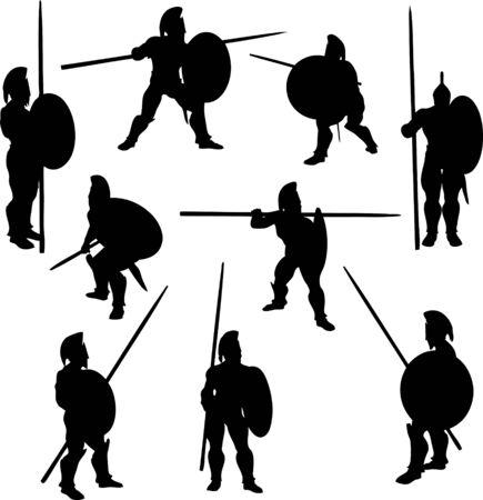 spears: Spartan Hoplite Silhouettes
