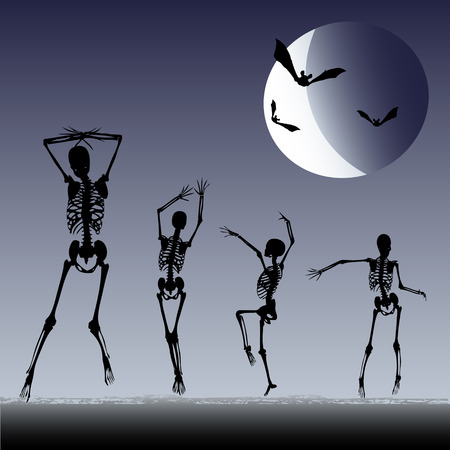Dancing Skeletons Background Stock Vector - 5632243