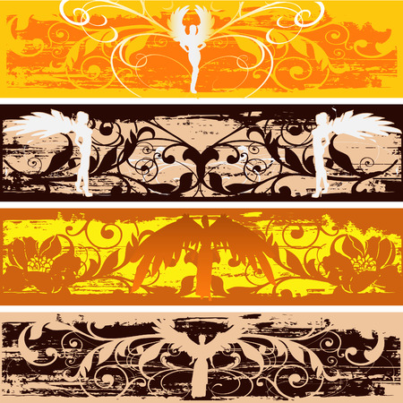 Angel Grunge Flourish Web Banners Stock Vector - 5736058