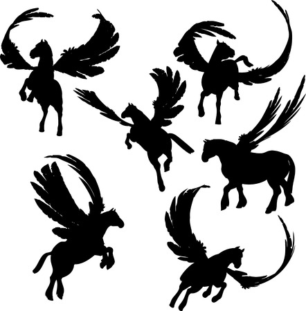 Winged Horse Silhouettes Vector