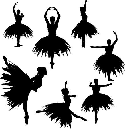 Classical Ballerina Silhouettes Vector