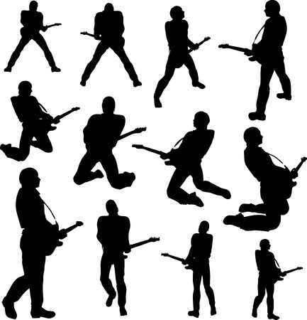 Guitarist silhouettes Stock Vector - 7802341