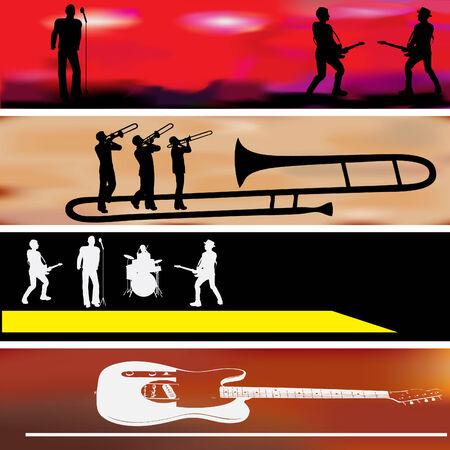 Music Web Banner Templates  Vector