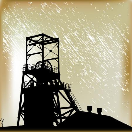 Mine de charbon dans la pluie.  Illustration