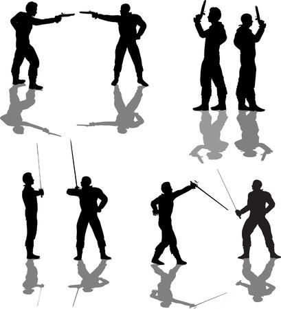 insulto: Siluetas de duelista  Vectores