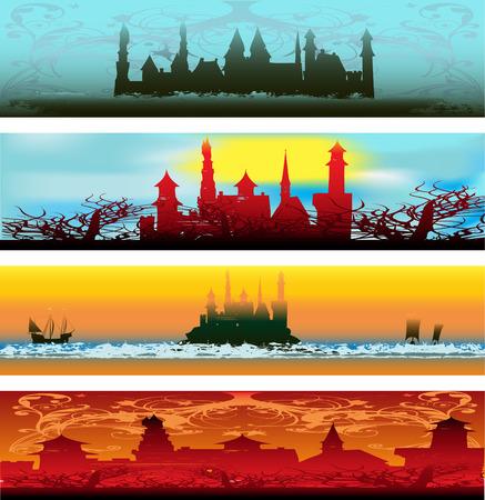 Fairytale Castle Web Banners  Vector
