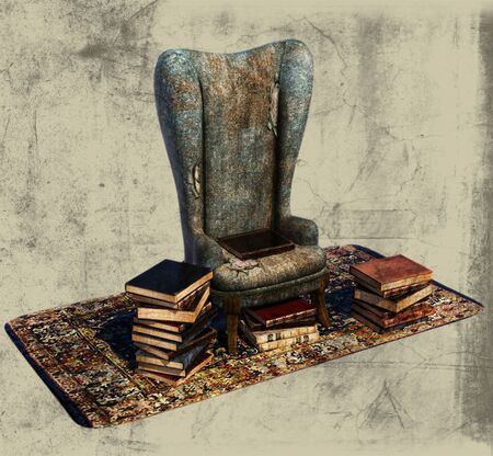 dusty: Books and Old Chair Illustration Stock Photo