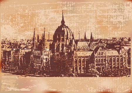 magyar: Vintage Budapest Background  Illustration