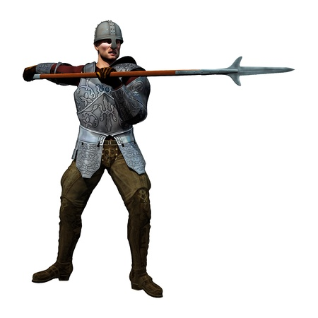 spearman: Spearman Receiving, 3D render of an armoured medieval soldier