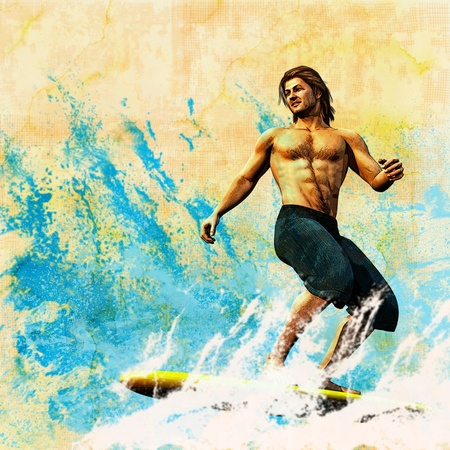 retro man: Surfer Retro Style Poster, based on a 3D render