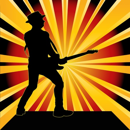 Guitarist Starburst  Stock Vector - 9432768