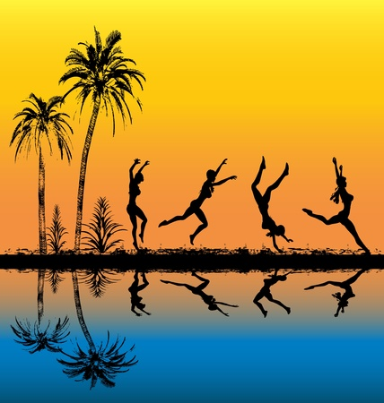 silhouettes people: Tropical Athlete  Illustration