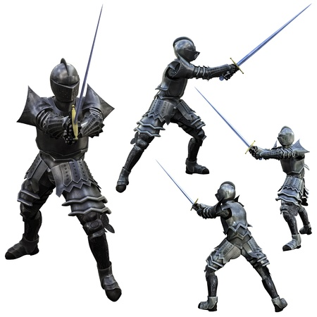 swordsman: Knight in Full Armour, 3D render in multiple poses  Stock Photo