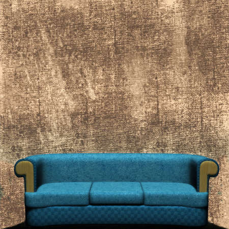 bleak: Couch Against Concrete Wall  Stock Photo