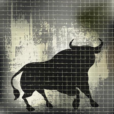 Grunge Bull Vector Background  Illustration