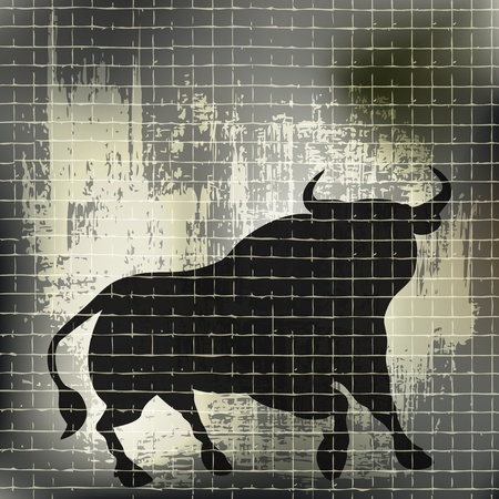 Grunge Bull Vector Background  Illustration