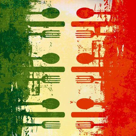 bandera de italia: Plantilla de Vector de men� italiano sobre una bandera de Italia  Vectores