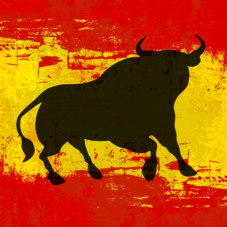 spanish bull: Spanish Background, with a Bull over a grunged Flag of Spain Illustration