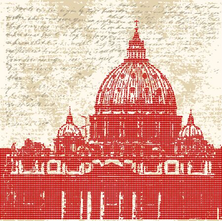 basilica of saint peter: Saint Peters, Roman Grunge Background Illustration